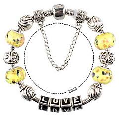 Yellow Fine Styly Beads Strand Bracelet with Beautiful Pendant Charm Bracelet