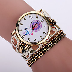 caso Dreamcatcher bianco quarzo analogico moda femminile bohemien stile tessuto banda strati braccialetto