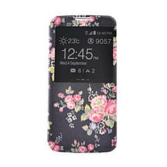 Varten Samsung Galaxy kotelo Korttikotelo / Lomapkko / Tuella / Ikkunalla / Flip Etui Kokonaan peittävä Etui Kukka Tekonahka SamsungS6 /
