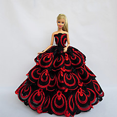 Princess Dresses For Barbie Doll Red / Black Dresses For Girl's Doll Toy