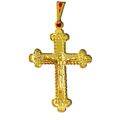 Gold Plated Copper Jesus-patterned Cross Necklace for Christians