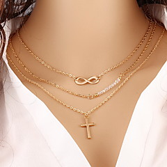 Women's Pendant Necklaces Chain Necklaces Layered Necklaces Cross Infinity Pearl Gold Plated Multi layer Classic Fashion Elegant Golden