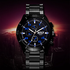 Men's White Case Black Stainless Steel Band Wrist Dress Watch Wrist Watch Cool Watch Unique Watch
