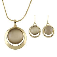 Imitation Opal Round Pendant Necklace Drop Earrings Set