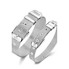 Heren Dames Voor Stel Armbanden met ketting en sluiting Bangles Punk-stijl Verstelbaar Aanbiddelijk Inspirerend Sterling zilver Ronde vorm