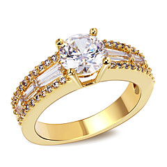 Design Women Luxury 18K Gold Plated Rings AAA Cubic Zircon Bridal Wedding Ring Environmental Friendly Material Lead FreeImitation Diamond Birthstone