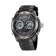 ASJ Męskie Sportowy Zegarek cyfrowy Japoński LCD Compass Kalendarz Wodoszczelny Dwie strefy czasowe Świecący Stoper SrebrzystyCyfrowe