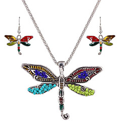 May Polly  Europe and the United States personality insect Dragonfly Pendant Necklace Earrings Set