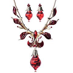 Biżuteria Ustaw Kamień szlachetny Żywica Stop Bohemia Style Modny Kropla Gold Czerwony Naszyjnik / Kolczyki Impreza Codzienny Casual 1set