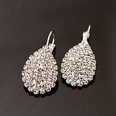 Oorknopjes Druppel oorbellen Modieus Luxe Sieraden Strass imitatie Diamond Legering Ovalen vorm Drop Zilver Sieraden Voor Feest Dagelijks