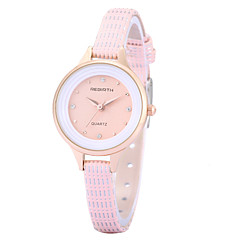 REBIRTH® Women's Simple Fashion Imitation Diamond Slim PU Leather Strap Quartz Wrist Watch