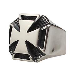 남성용 문자 반지 패션 의상 보석 티타늄 스틸 Cross Shape 보석류 제품 파티 일상 캐쥬얼
