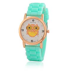Dames Kinderen Modieus horloge Vrijetijdshorloge Kwarts / Silicone Band Vrijetijdsschoenen UilZwart Wit Blauw Rood Orange Bruin Groen