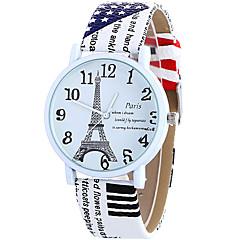 아가씨들 패션 시계 손목 시계 캐쥬얼 시계 / 석영 가죽 밴드 에펠탑 멋진 캐쥬얼 화이트 블루 브라운 로즈