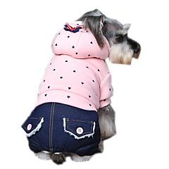 Kutyák Kapucnis felsőrész Jumpsuitek Kutyaruházat Tél Tavasz/Ősz Pöttyös Divat Casual/hétköznapi Bíbor Zöld Rózsaszín