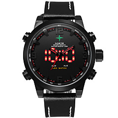 Masculino Relógio Esportivo Digital / Quartzo Japonês LED / Calendário / Impermeável / alarme / Luminoso Couro Banda Pendente Preta marca
