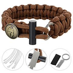 FURA SurvivalParachute Rope Bracelet with Flintstone - Black / Green / Orange / Camouflage / Khaki / Brown