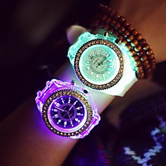 Ladies' Colorful LED Backlight Crystal Quartz Wrist Quartz Watch