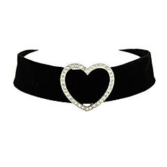 Damskie Naszyjniki choker Tatuaż Choker Heart Shape Flanela Tatuaż Serce Sexy Black Biżuteria Na Codzienny 1szt