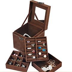 Pudełka na biżuterię Materiał Czarny Czerwony Niebieski Brązowy Fioletowy