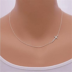 Necklace Pendant Necklaces Jewelry Party / Daily / Casual / Sports Cross Sideways Silver / Sterling Silver / Alloy Gold / Silver 1pc Gift