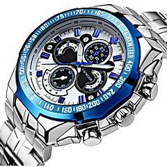 Herren Kleideruhr Armbanduhr Quartz Japanischer Quartz Kalender Wasserdicht Nachts leuchtend Edelstahl Band Bequem Luxuriös SilberWeiß