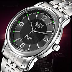BOSCK® Men's Analog Quartz 30M Water Ressistant Luminous Silver Steel Band Wrist Dress Watch