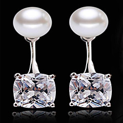 S925 silver after hanging Pearl Drop Earrings zircon super flash