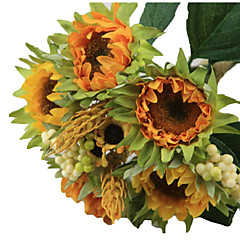 1 bouquet/Set 5 haara Silkki / Muovi Auringonkukat Pöytäkukka Keinotekoinen Flowers 3.3 inch X 10 inch