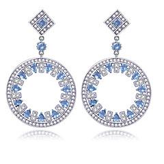 TEEMI AAA Zircon Dangle Fan Shape Stud Earrings Fine Jewelry for Women Wedding