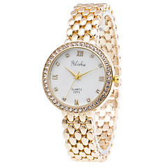 Women's Fashion Quartz Casual Watch Diamond Stainless Steel Belt Business Round Alloy Dial Watch Cool Watch Unique Watch