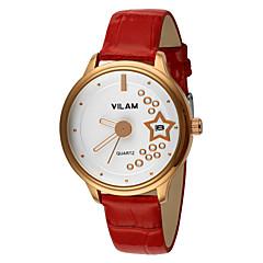 Mulheres Relógio Elegante / Relógio de Moda / Relógio de Pulso Quartz Calendário / Impermeável Couro Banda Brilhante Branco marca