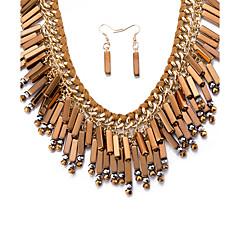 Dam Halsband Örhänge Uttalande Halsband Smycken Legering Toffsar Bohemstil Personlig uttalande smycken Mode Beige Purpur Grön Blå Smycken