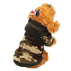 Koty Psy Płaszcze Bluzy z kapturem Ubrania dla psów Zima Wiosna/jesień kamuflaż Modny Zatrzymujący ciepło Camouflage Color Leopard