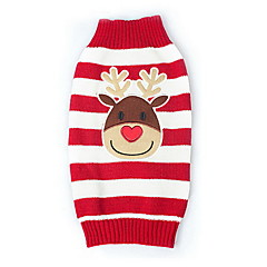 Cat / Dog Sweater Red Dog Clothes Winter Reindeer Keep Warm / Christmas