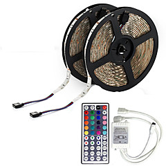 (2 * 5m) 10m 600x3528 rgb led smd rgb led strip licht en 44Key afstandsbediening and1bin2 verbindingslijn (12V)