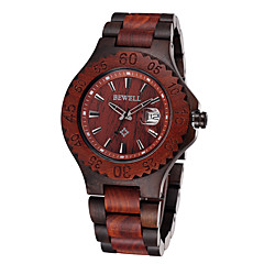Men's Fashion Wooden Quartz Watch Calendar / Water Resistant/Water Proof Wood Band Casual Brown Brand  Gift For Him