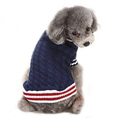 Gatos / Perros Suéteres Rojo / Azul Ropa para Perro Invierno Bloques Casual/Diario / Mantiene abrigado / Navidad