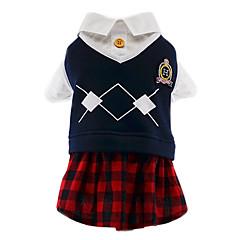 Koty Psy Kostiumy T-shirt Kombinezon Ubrania dla psów Zima Wiosna/jesień Pled / w kratkę Urocze Cosplay Modny Red/Blue White/Blue