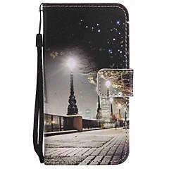 Til Motorola Moto G4 Play G4 Cover Mærke City Scenery Malet Lanyard PU Telefon Case
