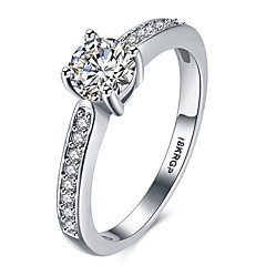 Ring AAA Cubic Zirconia Platinum Plated Simulated Diamond Silver Jewelry Wedding Party Halloween Daily Casual Sports 1pc