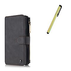 For Kortholder / Pung / Med stativ / Flip / Magnetisk Etui Heldækkende Etui Helfarve Hårdt Ægte læder for Samsung Note 5