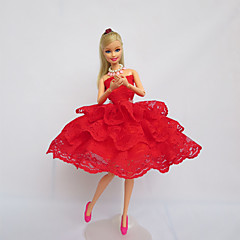 Party/Evening Dresses For Barbie Doll Red Lace Dresses For Girl's Doll Toy