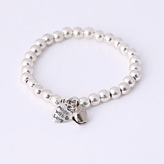 Damskie Bransoletki i łańcuszki na rękę Bransoletki Strand Stop Serce Modny Heart Shape Silver Biżuteria 1szt