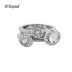 3Pcs/Set Brand Hot Selling Elegant Rhodium/Black Plated Crystal Alloy Wedding Party Engagement Rings Set for Women RG150387