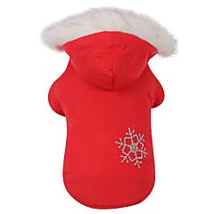 Σκυλιά Παλτά / Φούτερ με Κουκούλα Κόκκινο / Καφέ Ρούχα για σκύλους Χειμώνας Χιονονιφάδα Διατηρείτε Ζεστό / Διπλής Όψης / Χριστούγεννα