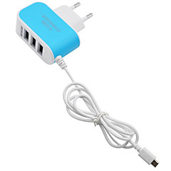 Multi Ports / Fast Charge Home Charger / Portable Charger EU Plug 3 LED USB Ports with Cable for Cellphone(5V  3.1A)