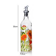 1PC Rice And Bean Oil Can Leak Large Glass Bottles Of Sesame Oil Seasoning Bottle Creative Lecythus(Style random)