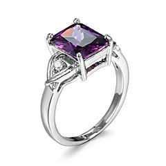 Ringe Kvadratisk Zirconium Afslappet Smykker Kvadratisk Zirconium Dame Ring 1pc,6 / 7 / 8 / 9 / 10 Sølv