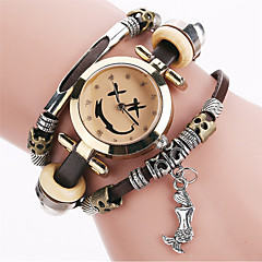 Women's Bracelet Quartz Personality Heart PU Vintage Cool Unqiue Watches Round Alloy Dial Classic Casual Fashion Watch